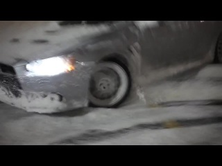 Mitsubishi Evo X Snow Sliding and Flame Shooting